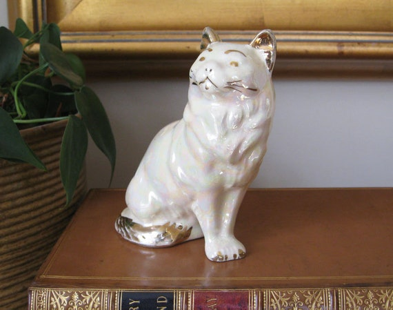 Vintage White Cat Figurine Lusterware with Gold Trim and Pastel Shimmer Old Fashion Victorian Cottage Chic Style Home Decor