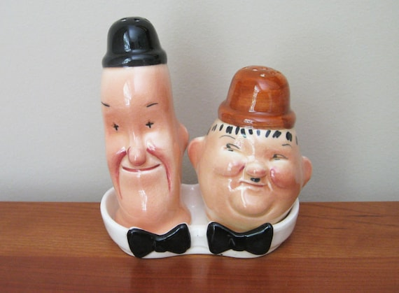 Vintage Laurel and Hardy Salt and Pepper Shakers Complete with Tray & Original Wood Stoppers Antique Mid Century Made in England