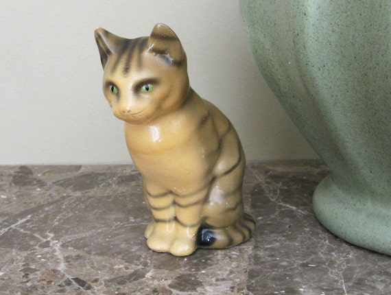 Vintage Chalkware Tiger Cat Collectible Figurine - Green Eyes and Caramel Tan Gray Coat - Mid Century Home Decor Item