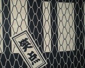 Japanese cotton yukata kimono fabric 1 yard calligraphy & nets