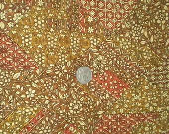 "Vintage Japanese silk kimono fabric brown sarassa pattern 36"" x 14"""