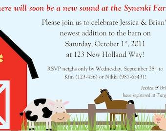 Farm Fun Baby Shower Invitation