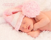 Precious ELF HATS for Babies - Pink and White with Large Pom Pom - Great Photography Prop
