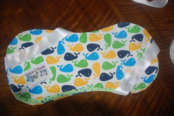 SET of 3 Baby Burp Cloths - Whale design - designed for comfort to both mother and baby