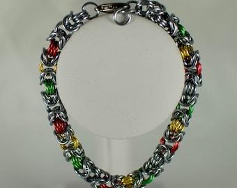 Rasta Colors Byzantine Bracelet - Ready to Ship