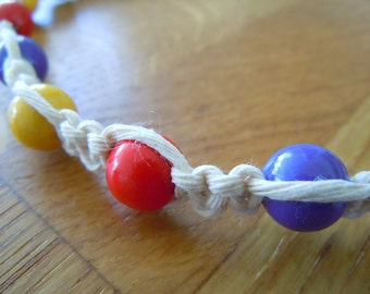 Macramé Necklace with Red, Purple and Yellow Beads