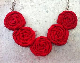 Fire Truck Red Rosette Necklace - Summer Elegance