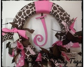 Giraffe Baby Ribbon Wreath in Chocolate Browns & Pinks for Hospital Door Hanger, baby shower, birthday party