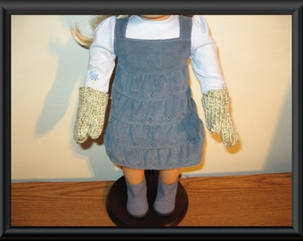 """fern green mittens Hand Knit for 18"""" 18 inch dolls will fit American Girl"""
