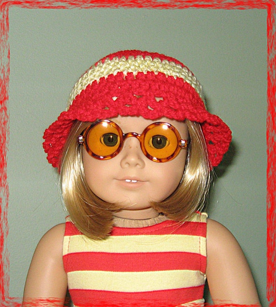 Red and Yellow Sunhat for American Girl Dolls and other 18 Inch dolls Also fits Bitty Baby