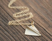Paper Airplane Pendant 14K Gold Filled Necklace