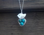Lovely, Mom Bird And Baby Eggs In Nest, Sterling Silver Necklace, Turquoise beads, Bird nest pendant, Mother's day Gift, GIft for moms