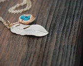 Gold Bird Nest With Feather Long Necklace (Turquoise)