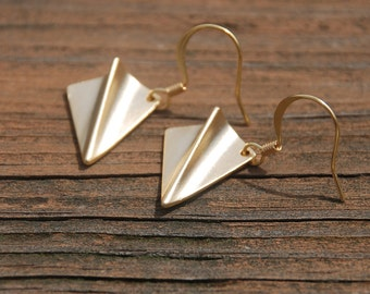 Gold, Origami, Paper Airplane Earrings, plane earrings, Origami jewelry, Birthday gift, Graduation Gift, Memorial gift