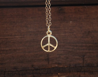 14K Gold Filled, Peace Sign Necklace, Peace sign pendant, 14 gold filled necklace, sweet 16 gift, birthday gift, peace jewelry