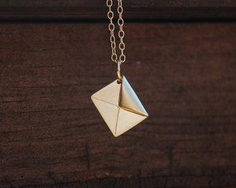 Gold, Origami, Love Letter Necklace, 14K Gold Filled Necklace, Origami jewelry, Anniversary gift, Graduation Gift, Memorial gift