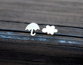 I met you in the rain, Tiny, Gold, Cloud and Umbrella studs, Sterling Silver Posts, Cloud, Umbrella, Birthday gift, sweet 16 gift