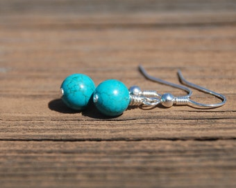 Wire Wrapped Gemstone or Pearl Earrings (Silver/Gold)