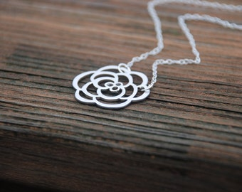 ROSE Pendant Sterling Silver Necklace