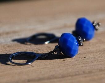 Opaque Denim Blue Faceted Glass Rondelle Gun Metal Earrings