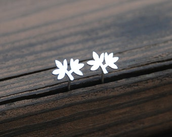 Lovely, Tiny, Silver, Leaf Stud Earrings, Sterling Silver Posts, Leaf posts, Leaf earrings, Birthday gift, Nature inspired jewelry