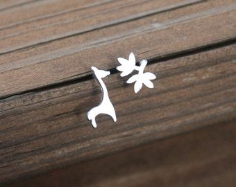 Lovely, Silver, Giraffe Eating Leaves Stud Earrings, Sterling Silver Posts, Giraffe Earrings, Africa Jewelry, Sweet 16 gift