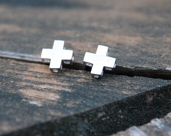 Silver, 3D XX, Cross, Stud Earrings, Sterling Silver Posts, Cross posts, xx studs, Birthday gift, Mother's day gift