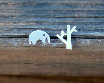 Silver, Elephant and Tree Stud Earrings, Sterling Silver Posts, Lovely, Tiny, Elephant earrings, Africa jewelry, Birthday gift