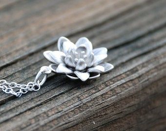 Silver Blooming Flower Sterling Silver Necklace,Bridal Jewelry, Bridesmaids Gift, Weddings, Anniversary, Birthday gift