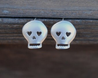 In Love, Silver, SKULL Studs, Sterling silver posts, Skull earrings, Skull posts, Elegant Skull Jewelry, Dainty Jewelry