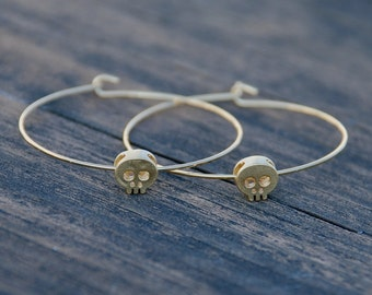Gold, Tiny Skull Hoop Earrings, Skull Earrings, Hoop Earrings, Unique earrings, Elegant Skull Jewelry, Dainty Jewelry