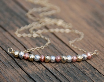3 Tone, Pyrite Nuggets, 14k Gold Filled Necklace, Gold, Rose Gold, Silver, Pyrite Gemstone Beads, Mother's day gift, Birthday Gift