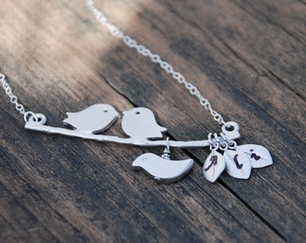 Silver Love Birds With Baby Bird Sterling Silver Necklace, Hand Stamped Initials, Leaves, Family, Personalized jewelry, Anniversary gift