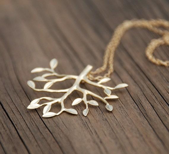 Large TREE Pendant 14K Gold Filled Necklace