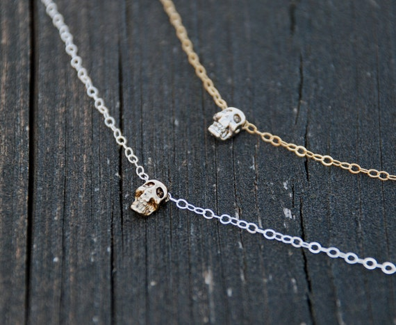 Mixed Tone, Antique SKULL Anklet, Gold, Silver, 14K Gold Filled Anklet, Sterling Silver Anklet, Elegant Skull Jewelry, Dainty jewelry