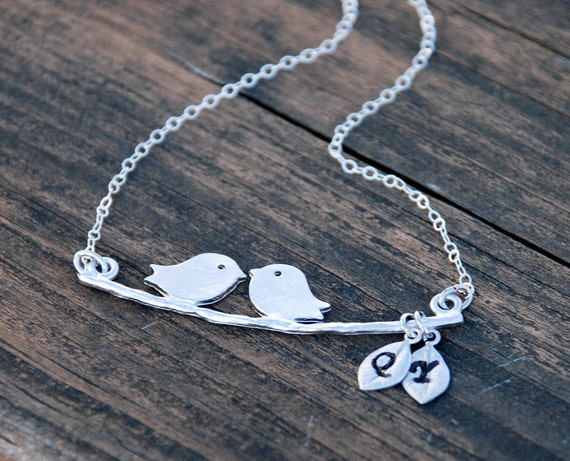Silver, Hand Stamped Initials, Leaves, Love Birds, Swing, Sterling Silver Necklace, Family, Personalized jewelry, Anniversary gift