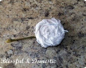 White Denim Bobby Pin Rosette