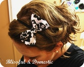 Black and White Damask Print Bow Headband