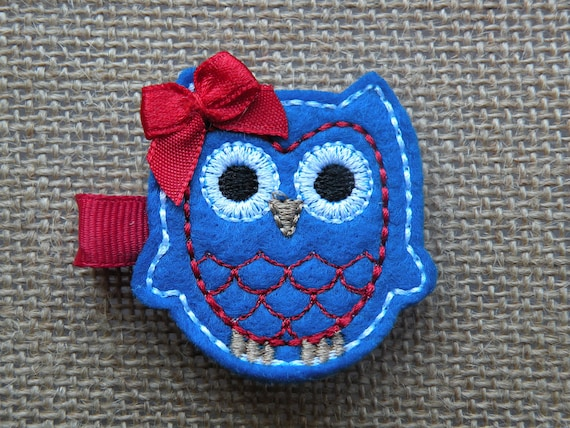 Fourth of July Patriotic Owl Hair Clippie