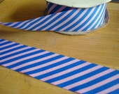 "Ribbon  Blue and Pink diagonal 1"" Grosgrain Ribbon"