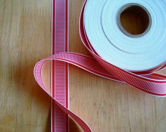 "7/8"" Grosgrain Ribbon Red and White Horizontal Stripe"