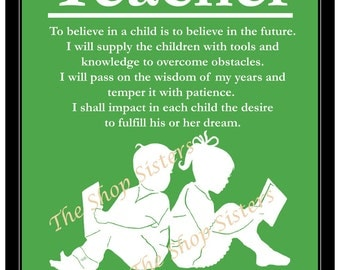 Teacher Gift Children Silhouette Student Read Print Wall art Green and White 8 x 10 FREE shipping