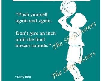 Motivational Basketball Boy Silhouette Teal Blue Green 8 x 10 Print Wall art FREE SHIPPING Inspirational