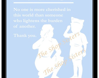 Patriotic Female Soldier and Boy Saluting Silhouette Light Blue 8 x 10 Print Wall art FREE SHIPPING