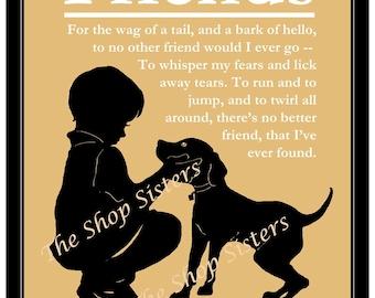 Boy and His Dog Poem Silhouette - Black Wheat White  8 x 10 Print Wall Art FREE SHIPPING