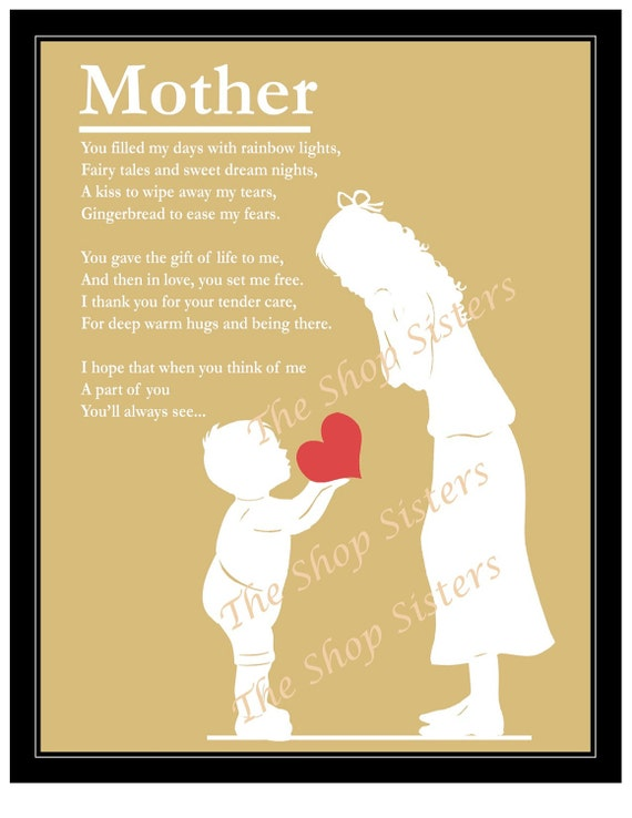 Items Similar To Mothers Day Mother And Son Poem Heart Silhouette Natural Wheat And White 8 X