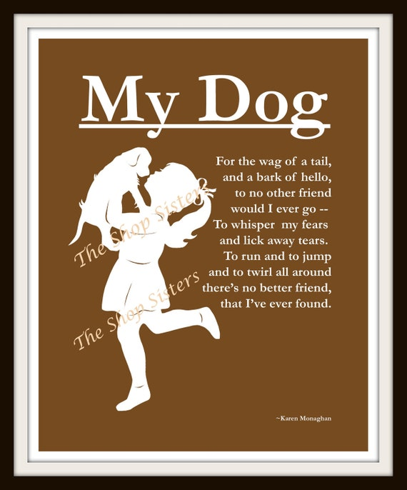 Girl and Dog Poem Silhouette Chocolate Brown and White 8 x 10