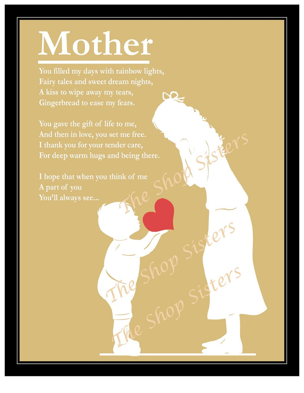 Heartbroken Mom Warns Others After 18 Year Old Daughter: Mother's Day Mother And Son Poem Heart Silhouette Natural
