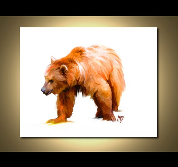 Bear Art Print Grizzly Bear Art 8x10 Bear Painting