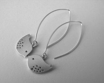 Love Birds Dangle Earrings Sterling Silver Drop Earrings Everyday Jewelry Modern Earrings,